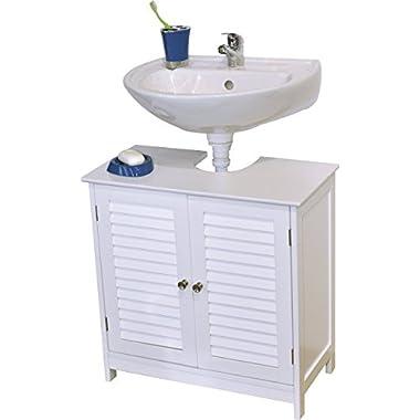 EVIDECO 9900307 Bath Under Sink Storage Vanity Cabinet Florence Louvre, 23.6  H x 23.6  L, White