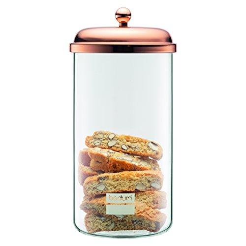 Bodum Classic Vorratsglas mit Metalldeckel 2 L, Glas, Rosa, 12.7 x 12.7 x 26.8 cm
