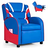 Costzon Kids Recliner, Gaming Recliner Chair w/Footrest, Headrest, Lumbar Support & Side Pockets, Ergonomic Leather Lounge Chair for Living & Gaming Room, Adjustable Recliner Sofa for Boys Girls, Blue