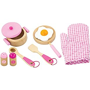 Viga Children's Wooden Kitchen Cooking Set - Pretend Play, Wooden Pots & Pans