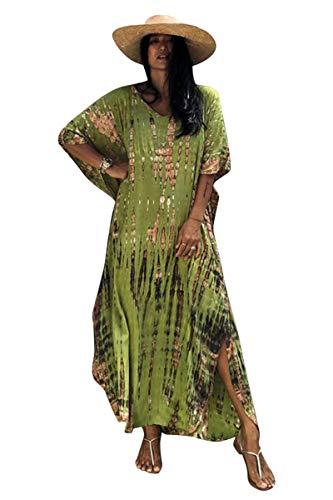 Vestido Tie Dye Mujer Largo Talla Grande Camisolas y Pareos Indios Bohemio Hippie Tunica Piscina Caftan Africano Kaftan Etnico Kimono Flores Ropa Playa Traje de Baño Bikini Cover Up