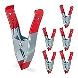 Relaxdays Juego de 6 abrazaderas de metal grandes de 50 mm, para fotografía, piscina, pinzas de pegamento, 145 mm, color rojo
