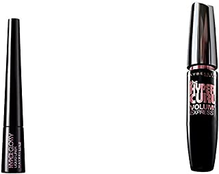 Maybelline Hyper Glossy Liquid Liner, Black, 3g And Maybelline New York Hypercurl Mascara Washable, Black, 9.2ml