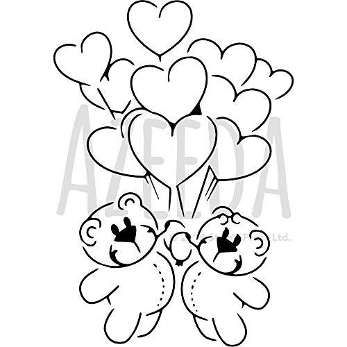 Azeeda A3 'Teddybären mit Luftballons' Wandschablone / Vorlage (WS00008861)