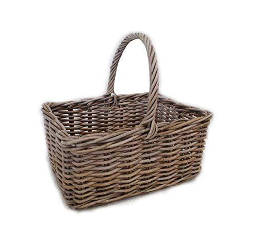 Meubletmoi - Cesto per la spesa rettangolare in kubu, intrecciato naturale, stile rustico, campagna chic, colore: Sorgue