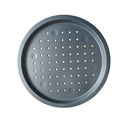 Nonstick Pizza Pan, 13 Inch Carbon Steel Pizza Pan with Holes, Round Pizza Tray for Oven Baking -Gray