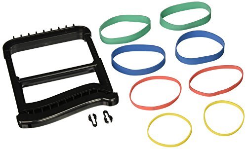 Sammons Preston 51798 Rolyan Basic Ergonomic Hand Exerciser, Strengthening Device for Fingers, Hands, and Thumbs, Comes with 4 Pairs of Graded Rubber Bands with Progressive Difficulty, Black