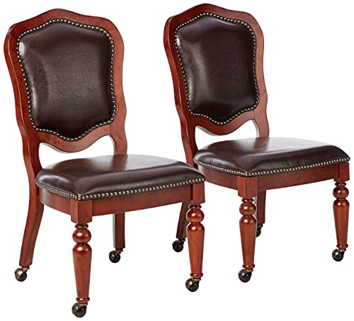 Sunset Trading Bellagio Caster Chair, Distressed brown cherry finish with espresso seats