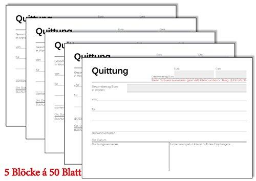 5x Quittungsblock Kleinunternehmer §19 - á 50 Blatt A6