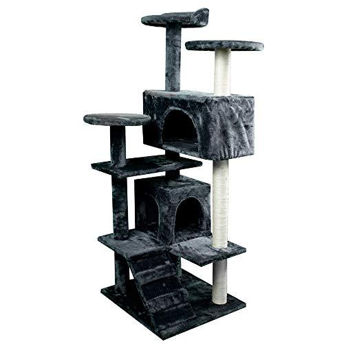 Mobiclinic, Rascador árbol para Gato, Modelo Tico, Grande, para Escalar, 3 Alturas, con Plataformas y refugios, Juguete Desestresante, Cuerda de sisal, Gris