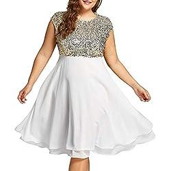 White Sequin Plus Size Formal Round Neck Sleeveless Dress