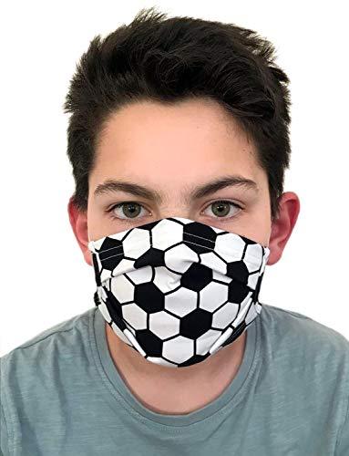 GymStern Modeaccessoire Behelfsmasken Kinder & Erwachsene Mundbedeckung 95% Baumwollstoff waschbar wiederverwendbar Farbwahl | ML111231 Farbe Fußball, Größe Teenager 16x6 cm