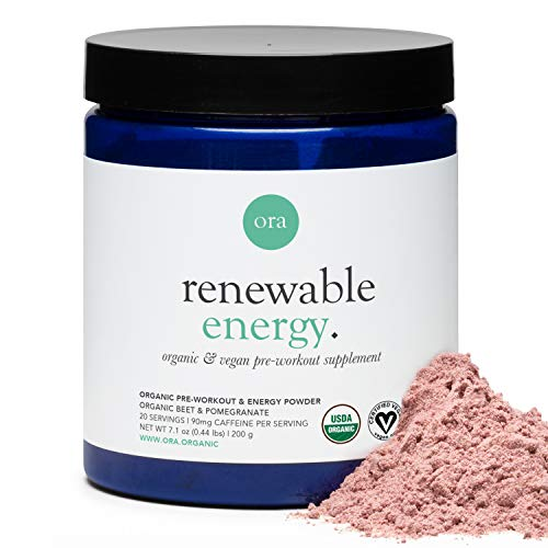 Ora Organic Natural Pre Workout Powder - Vegan Energy Supplement, Organic Beet Powder Blend Provides Jitter-Free Energy Boost & Focus, for Women & Men - Pomegranate Beet Flavor, 20 Servings