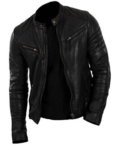 Classyak, giacca in vera pelle da uomo, stile motociclista Cow Black L Chest 56