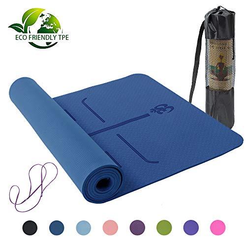 Tama/ño 183x61 cm BPA BODYMATE Esterilla para Yoga Premium TPE Metales Pesados An/álisis de Sustancias Nocivas por SGS no Contiene Ftalatos Grosor 6 mm