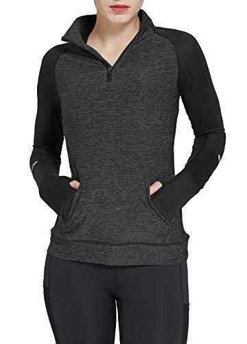 Westkun Camiseta de Manga Larga para Mujer Sudadera de Half Zip Deporte Chaqueta Yoga Casual Corriendo Pull-Over Tops con Agujeros para los Pulgares(Gris Profundo,M)