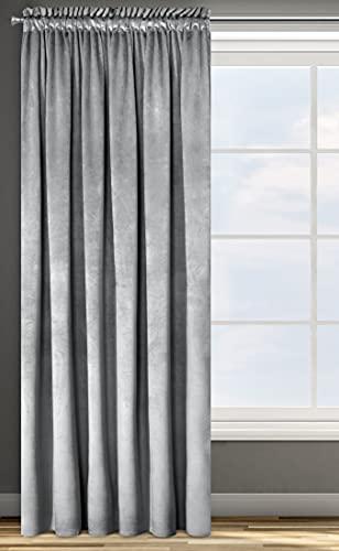 Cortina de Terciopelo con Cinta fruncidora, Opaca, Terciopelo, 1 Unidad, 135 x 300 cm, Color Rosa (Plata)