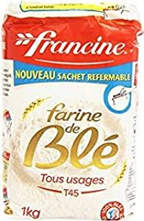 Francine Farine de Ble Tous Usages - French All Purpose Wheat Flour - 2.2 lbs (1 Pack of 4)