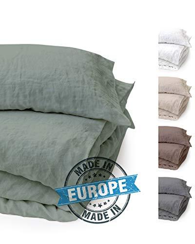 BLUE MOON Leinenbettwäsche Stone-Washed, 2-teilig, sehr hochwertige Bettwäsche aus 100% Naturfaser Leinen, Normalgröße, Standardgröße, mit Hotelverschluss, Made in EU (grün, 155 x 220 + 80 x 80)