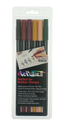 Uchida Of America 6-Piece Primary Le Plume Ii Double Ended Marker Brush and Fine Point Set Art Supplies, 6