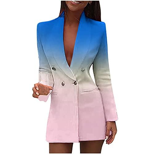AMhomely Vestido elegante de las mujeres de la chaqueta de las señoras del negocio de la manga larga del botón delantero de la chaqueta de la tela escocesa mini vestido, azul, M