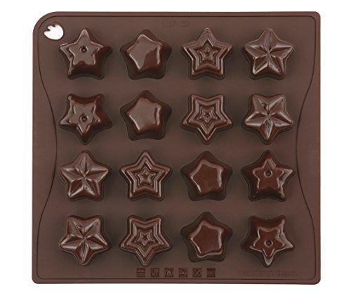 Pavonidea CHOCO04S Stampo in Silicone per Cioccolatini/Ghiacciolini, Marrone Choco-Ice Star
