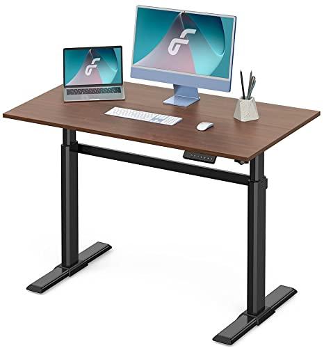Fenge Elektrisch Höhenverstellbarer Schreibtisch mit Tischplatte 110 * 60cm Stufenlos Höhenverstellbarer Tisch mit 4 Programmierbarer Speicher Voreinstellungen (schwarz Rahmen und braun Desktop)