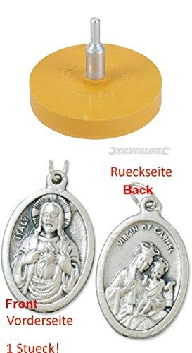 Silverline Radierscheibe, 85 mm, Folienradierer, Aufkleberentferner, Plakettenentferner, Bohrmaschine (929977509509) mit Anhänger Herz Jesu 2,5cm