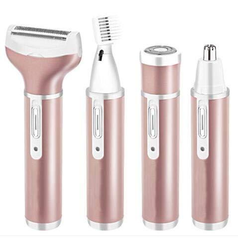 Eurobuy 4 IN 1 Elektro-Rasierer für Damen, Haarentferner-Set schmerzfrei Epiliergerät USB aufladbar mit 4 abnehmbaren Aufsätzen für Bikini-Trimmer/Nasenhaarschneider/Augenbraue-Shaper/Body Shaver