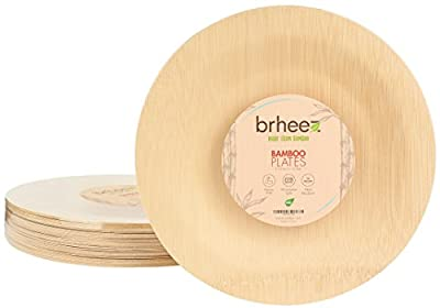 Brheez Bamboo Veneer Disposable Eco-Friendly Round Elegant Plates - Compostable and Biodegradable