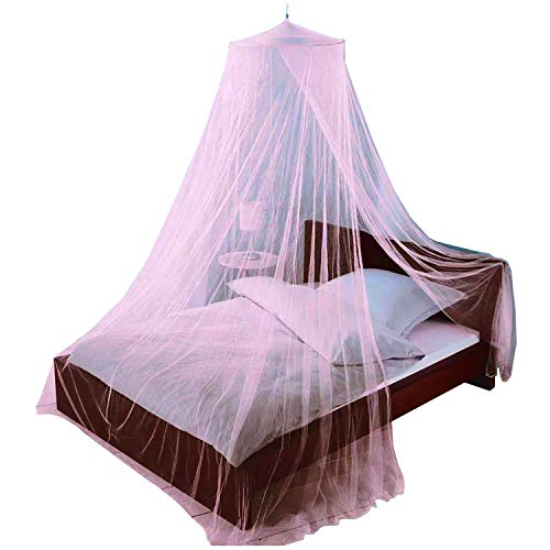 Just Relax Mosquito NET, Elegant Bed Canopy Set Including Full Hanging Kit, Ideal for Indoors or Outdoors, Intended for a for Covering Beds, Cribs, Hammocks (Pink, Twin/Full)