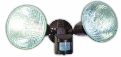 Designers Edge L5999BR L-5999Br Twin Head Motion Activated Flood Light, 120 V, 240 W, Par, Incandescent, 120 W, Watt, Brown