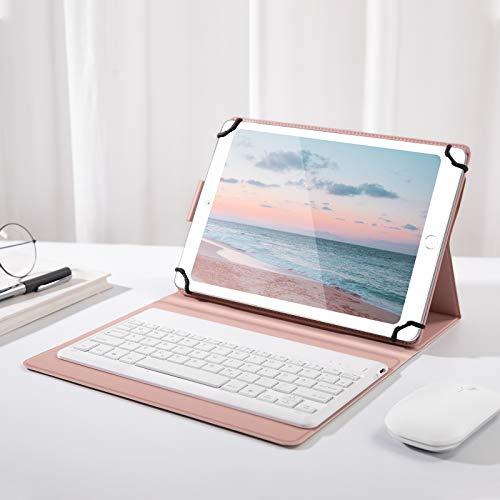Jelly Comb Beleuchtete Tastatur Hülle für Allen 9-11 Zoll Tablet, Bluetooth Wiederaufladbare Funktastatur mit Schützhülle für Android/Windows Tablets, iPad, QWERTZ Deutsches Layout, Rose Gold