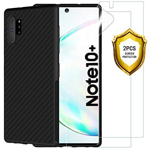 ANEWSIR Schutzfolie + Hülle für Samsung Galaxy Note 10+/Note 10 Plus, [2 Schutzfolie + 1 Hülle] Ultra-klare Schutz Film Folie Displayschutzfolie, Schwarz Hülle Case Cover Handyhülle Schutzhülle.