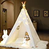 IREENUO Teepee Tent for Kids with Twinkle Star Lights & Carry Case & Padded Mat Foldable Children Play Tents Playhouse Toys for Girls/Boys Indoor & Outdoor Playing White Color