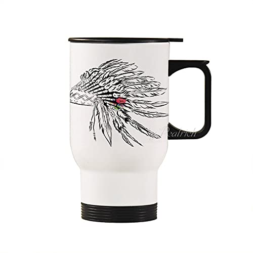 14 oz Stainless Steel Tumbler with Lid, Headdress in Sketch Style with Color Splashes Primitive White Double Wall Vacuum Insulated Travel Mug for Men Father's Day