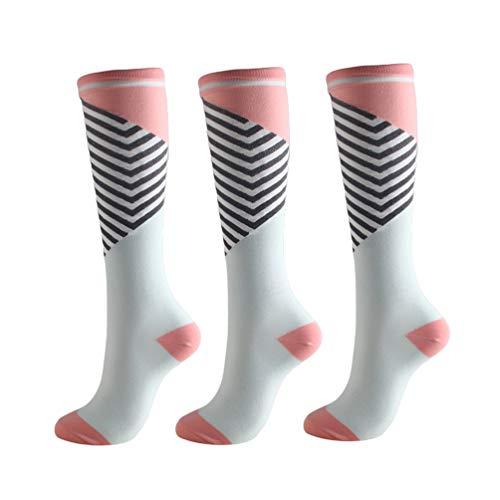 Booding 3 pares Calcetines de compresión para Mujeres y Hombres para Baloncesto Fútbol Correr Escalar Montaña para correr, médico, deportivo, viajes en avión, embarazo