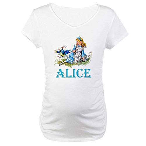 CafePress Alice in Wonderland Blue Maternity T Shirt Cotton Maternity T-Shirt, Cute & Funny Pregnancy Tee