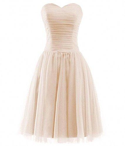 La_Marie Braut Elegant Festliche Kleider Jugendweihe Kleider Damen Abendkleider Kurz Brautjungfernkleider -40 Beige