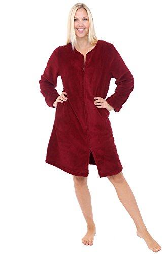 Alexander Del Rossa Womens Fleece Robe, Mid-Length Zip-Front Bathrobe, Medium Burgundy (A0309BRGMD)