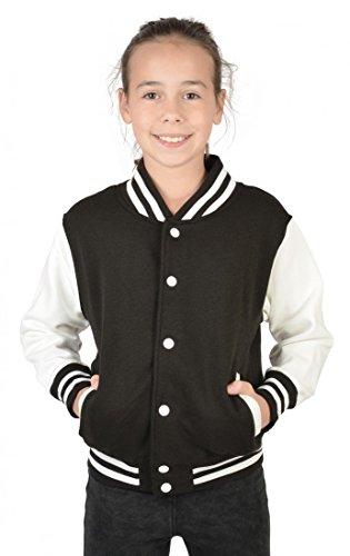 Mädchen Collegejacke in schwarz mit persönlichem Wunschjahrgang hinten - Kinder Jacke Schule Freizeit Geburtstag Geschenk, Kinder Größe:XL / 152