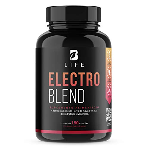 Electrolitos Con Polvo de Agua de Coco 150 Capsulas, Potasio, Magnesio, Sodio, Calcio, Hidratacion. Electro Blend B Life