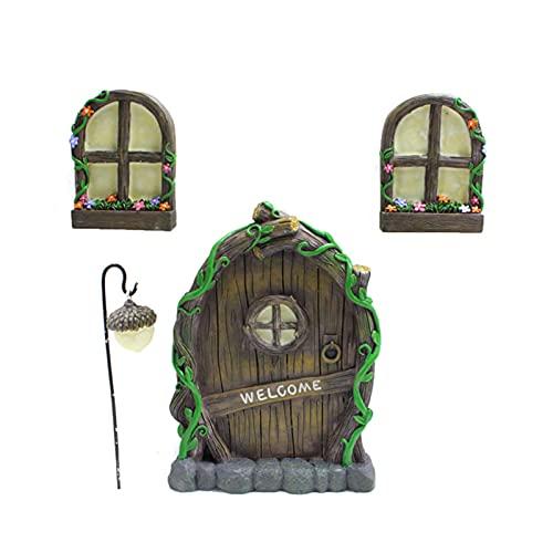 kindly Miniatur Fee Haus Tür Fenster und Kronleuchter Mini leuchtenden Baum Garten Tür kreative leuchtende Baum Dekor Handwerk Set für Bäume, Garten-Skulptur, 15.5 x 11.5cm