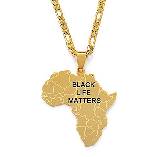 Liuqingzhou Co.,ltd Mapa de África Collares Pendientes Mujeres Hombres Black Lives Matter Joyería Africana 60Cm por 3Mm Cadena