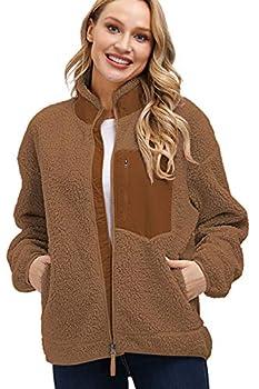 Kisscynest Women s Full Zip Fleece Jacket Stand Collar Fuzzy Fluffy Warm Winter Sherpa Coat Brown S