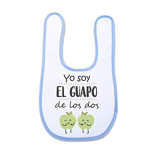 """Supermolon 03779 -""""Yo Soy el Guapo de los Dos"""" Babero Mellizas con Velcro, Azul Celeste, unisex"""