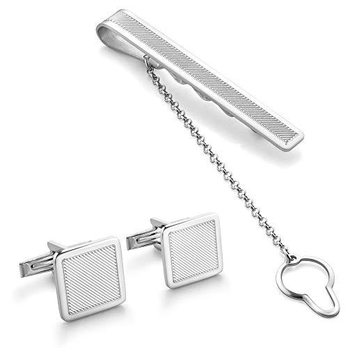 STERLL Herren Manschettenknöpfe und Krawattenklammer Sterlingsilber 925 Geschenkverpackung Boss Geschenk