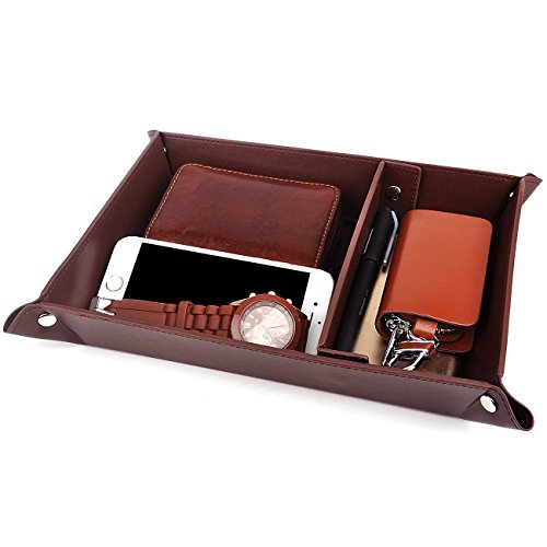 SPSHENG Valet Tray Jewelry Organizer,PU Leather Watch Box Coin Change Key Tray for Storage Coffee