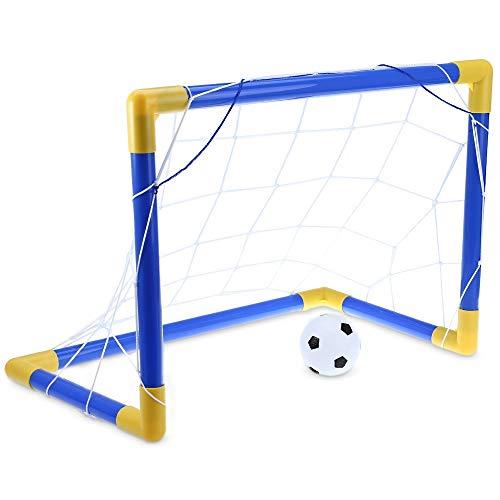 Shuxinmd Durable Juego de Mini portería de fútbol de fútbol, Set con Bomba de Juguete Deportivo para niños para ejercitar