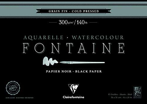 Clairefontaine 975306C – Un bloque encolado 4 lados de papel dibujo Fuente 20 hojas grano fino 36 x 51 cm, 300 g, negro